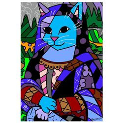 """Romero Britto """"New Mona Cat"""" Hand Signed Giclee on Canvas; Authenticated"""