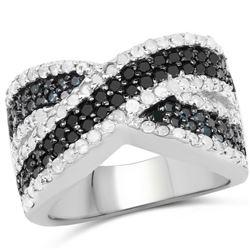 1.56 Carat Genuine Blue Diamond, White Diamond and Black Diamond .925 Sterling Silver Ring (size 8)