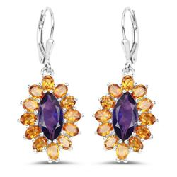 6.54 Carat Genuine Amethyst & Madeira Citrine .925 Sterling Silver Earrings