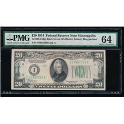 1934 $20 Minneapolis Federal Reserve Note PMG 64