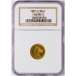 1850-O $2 1/2 Liberty Head Quarter Eagle Gold Coin NGC AU55