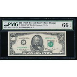 1963A $50 Chicago Federal Reserve Star Note PMG 66EPQ