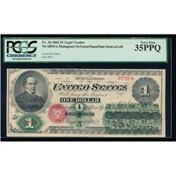 1862 $1 Legal Tender Note PCGS 35PPQ