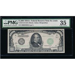 1934A $1000 St Louis Federal Reserve Note PMG 35