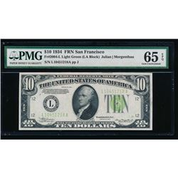 1934 $10 San Francisco Federal Reserve Note PMG 65EPQ