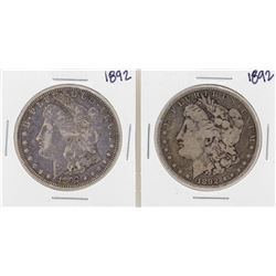 Lot of (2) 1892 $1 Morgan Silver Dollar Coins