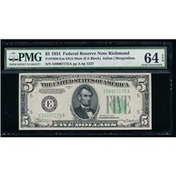 1934 $5 Richmond Federal Reserve Star Note PMG 64EPQ