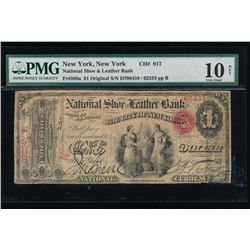 1865 $1 New York National Shoe and Leather Bank Note PMG 10NET