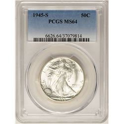 1945-S Walking Liberty Half Dollar Coin PCGS MS64