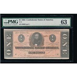 1864 $1 Confederate States of America Note PMG 63