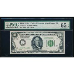 1928A $100 Kansas City Federal Reserve Note PMG 65EPQ