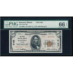1929 $5 Rantoul National Bank Note PMG 66EPQ