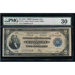 1918 $2 Kansas City Federal Reserve Bank Note PMG 30