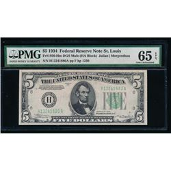 1934 $5 St Louis Federal Reserve Note PMG 65EPQ