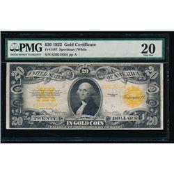 1922 $20 Gold Certificate PMG 20