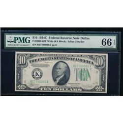 1934C $10 Dallas Federal Reserve Note PMG 66EPQ