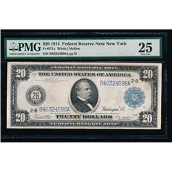 1914 $20 New York Federal Reserve Note PMG 25