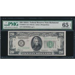 1934A $20 Richmond Federal Reserve Note PMG 65EPQ