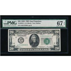 1928 $20 San Francisco Federal Reserve Note PMG 67EPQ