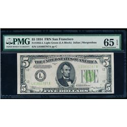 1934 $5 San Francisco Federal Reserve Note PMG 65EPQ