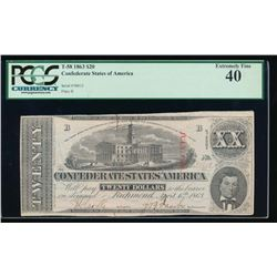 1863 $20 Confederate States of America Note PCGS 40