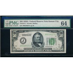 1928A $50 Kansas City Federal Reserve Note PMG 64