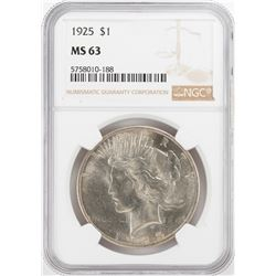 1925 $1 Peace Silver Dollar Coin NGC MS63