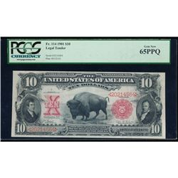 1901 $10 Bison Legal Tender Note PCGS 65PPQ