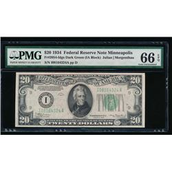 1934 $20 Minneapolis Federal Reserve Note PMG 66EPQ