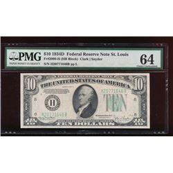 1934D $10 St Louis Federal Reserve Note PMG 64