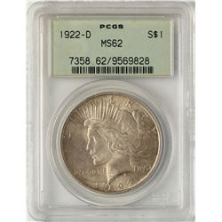 1922-D $1 Peace Silver Dollar Coin PCGS MS62 Old Green Holder