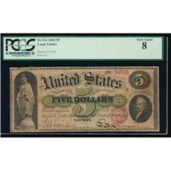 1862 $5 Legal Tender Note PCGS 8