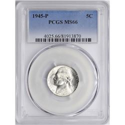 1945-P Jefferson Nickel Coin PCGS MS66