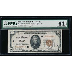 1929 $20 New York Federal Reserve Bank Note PMG 64EPQ