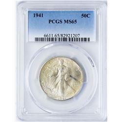 1941 Walking Liberty Half Dollar Coin PCGS MS65