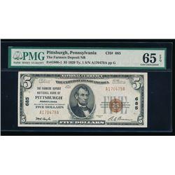 1929 $5 Pittsburgh National Bank Note PMG 65EPQ