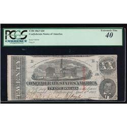 1863 $20 Confederate States of America Note PMG 40