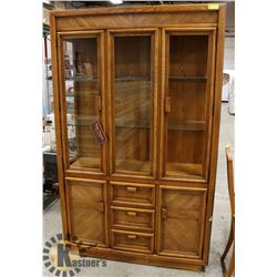 OAK HUTCH, MISSING ONE FRONT GLASS PANEL,