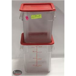 TWO 8 QT CAMBRO CONTAINER WITH LIDS