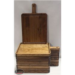 9 COMMERCIAL RESTAURANT SOLID WOOD SERVING PLATES