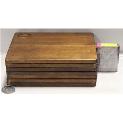 7 COMMERCIAL RESTAURANT SOLID WOOD SERVING PLATES