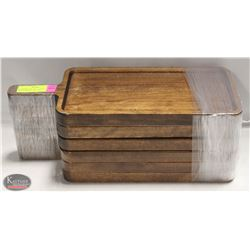 6 COMMERCIAL RESTAURANT SOLID WOOD SERVING PLATES