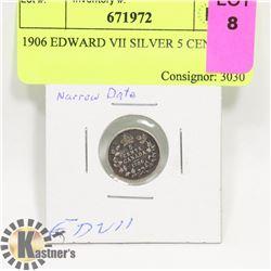 1906 EDWARD VII SILVER 5 CENT