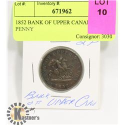1852 BANK OF UPPER CANADA 1/2 PENNY