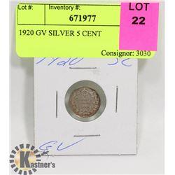 1920 GV SILVER 5 CENT
