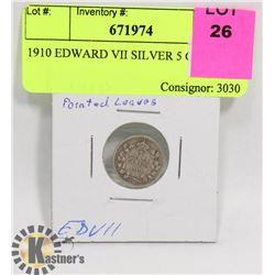 1910 EDWARD VII SILVER 5 CENT