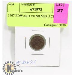 1907 EDWARD VII SILVER 5 CENT