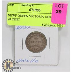 NEWF QUEEN VICTORIA 1890 SILVER 20 CENT