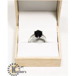 LADIES GENUINE BLACK AGATE RING SIZE 6.75
