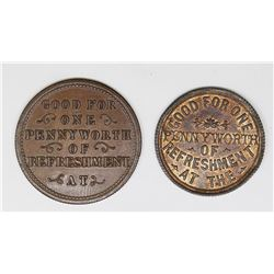 2 EARLY ENGLISH TRADE TOKENS 1860'S